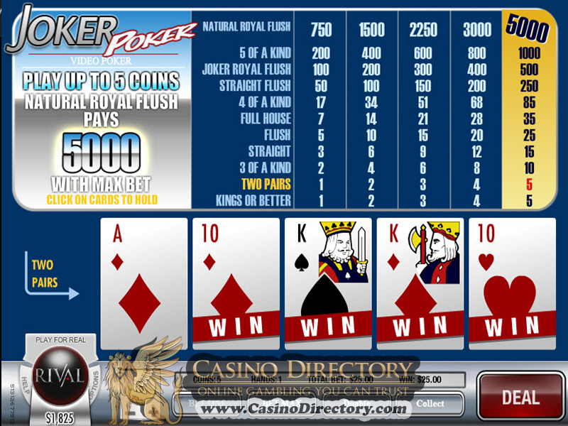 Play Joker Poker Videopoker at Casino.com Canada